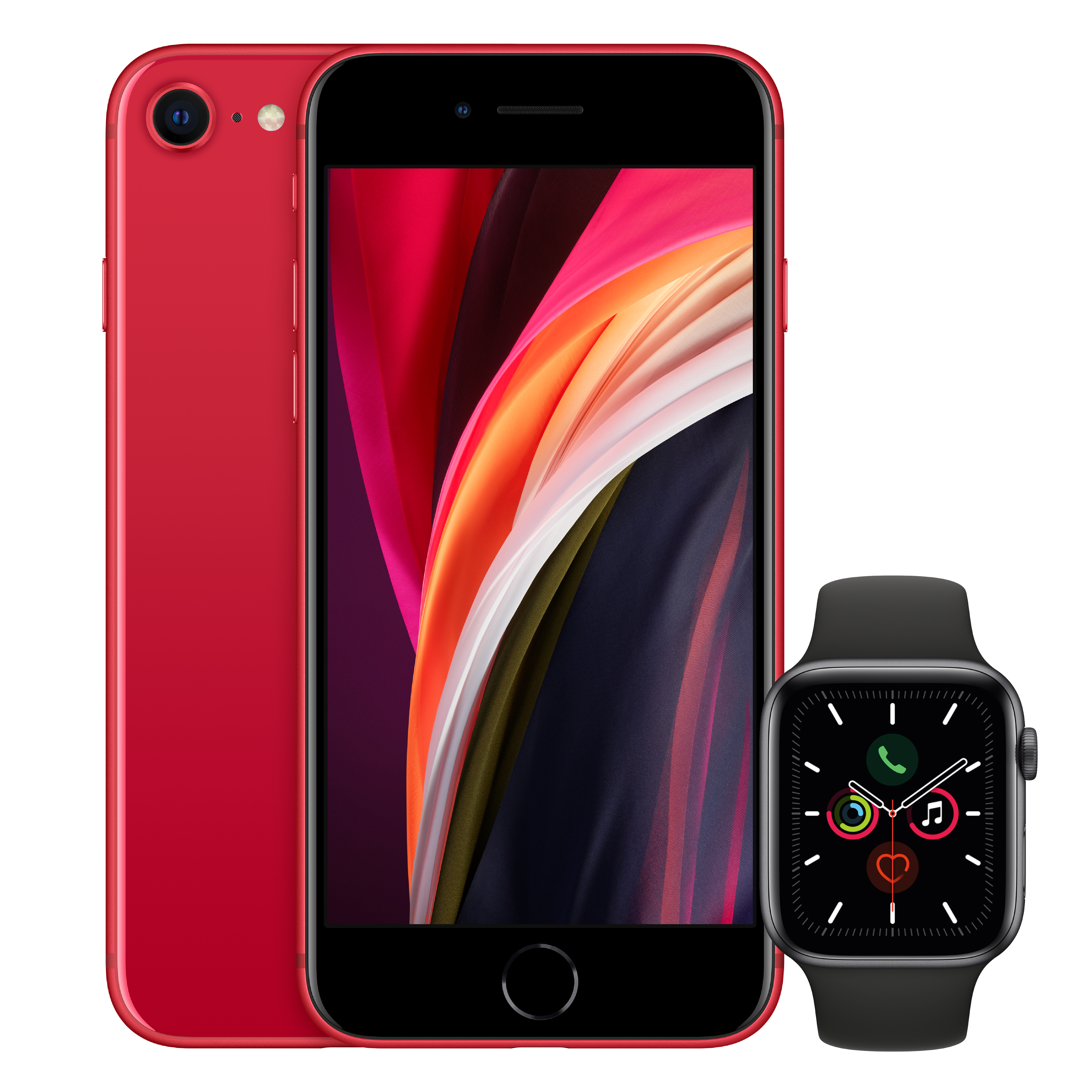 iPhone SE Red and Apple Watch