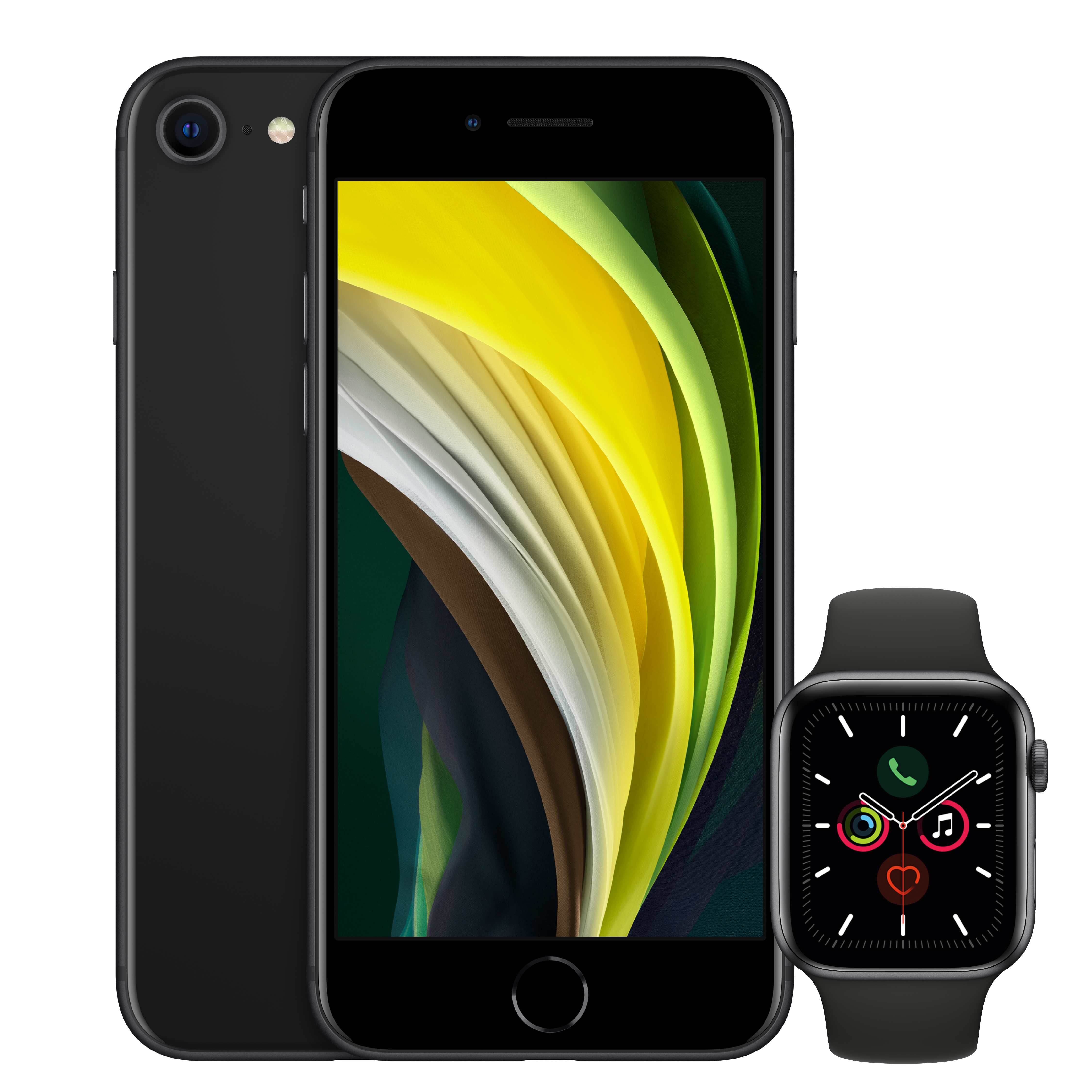 iPhone SE Space Gray and Apple Watch